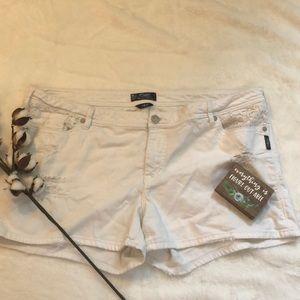 Silver White Jean Shorts
